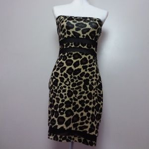 Material Girl Leopard Strapless Bodycon Dress